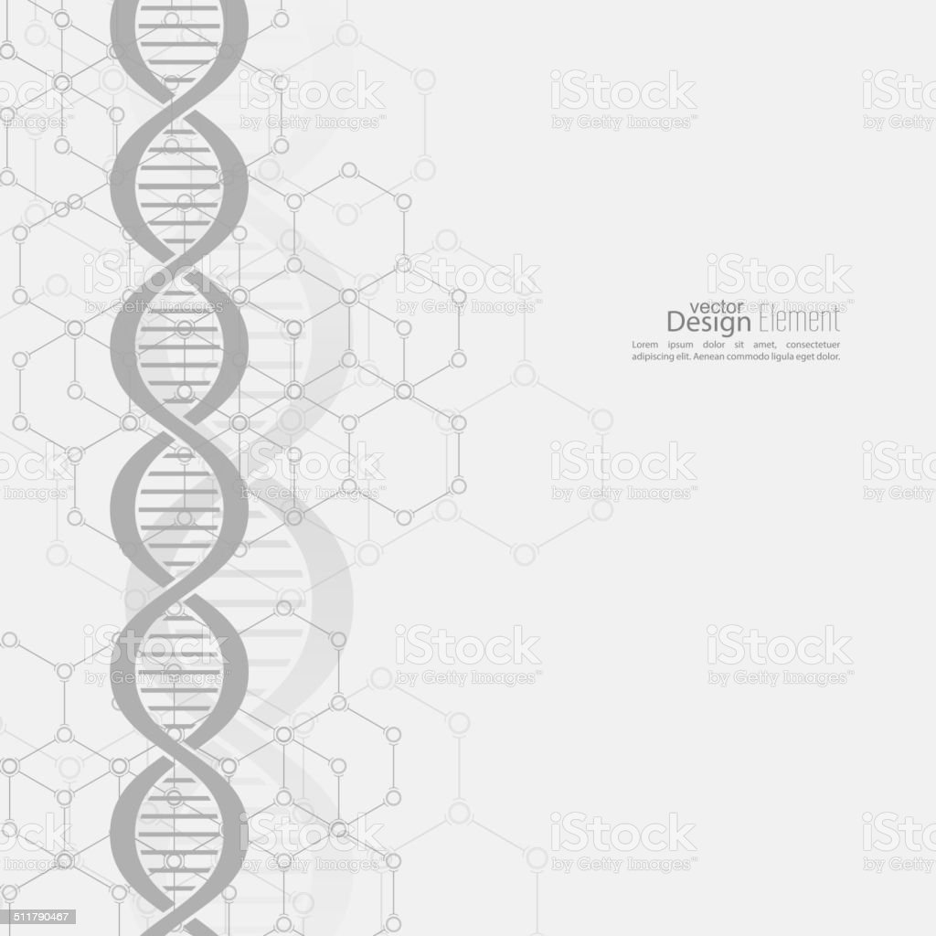 Abstract background with DNA molecule structure vector art illustration