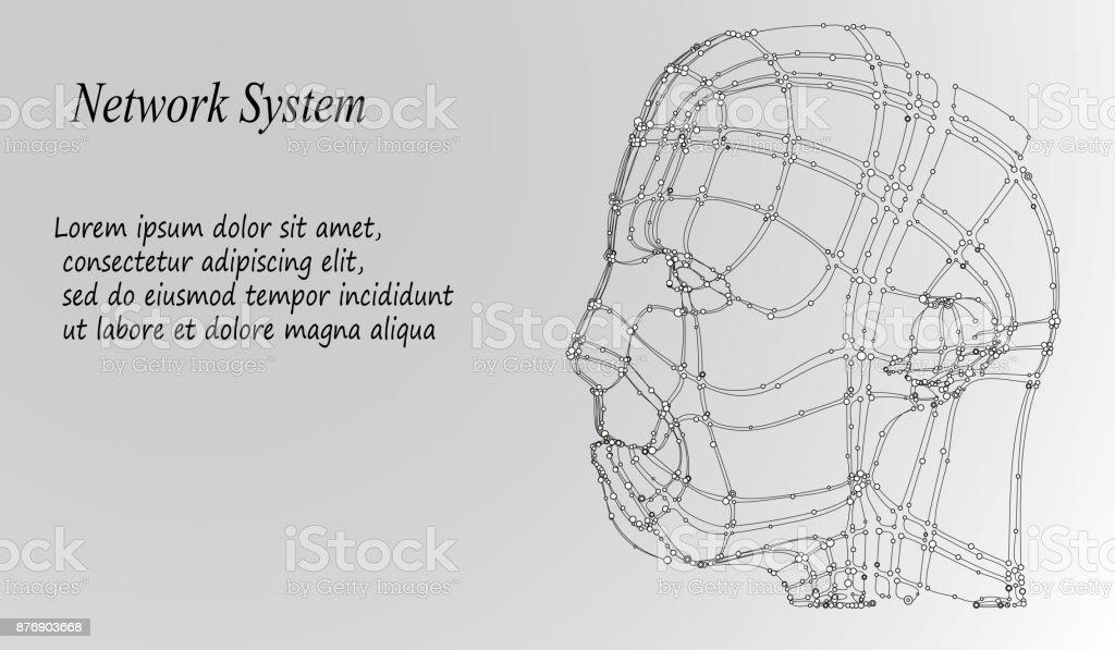 Abstract Background with Dots Array et lignes. Structure de connexion. Concept de la technologie moderne géométrique. Visualiser des données numériques - Illustration vectorielle