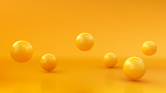 Abstract background with dynamic 3d spheres. Yellow bubbles. Vector illustration of glossy balls. Modern trendy banner design
