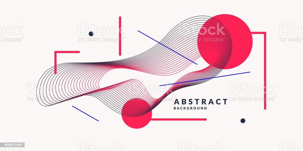 Abstract background with dynamic linear waves. Vector illustration in flat style vector art illustration