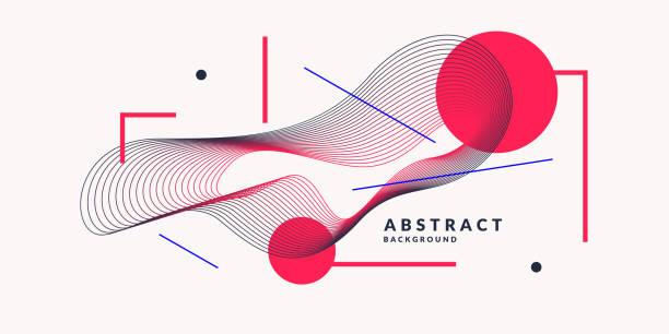 illustrazioni stock, clip art, cartoni animati e icone di tendenza di abstract background with dynamic linear waves. vector illustration in flat style - tempo concetto
