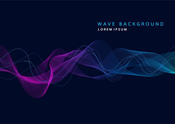 動的なパーティクル音波抽象的な背景。レコードの音楽サウンド トラックの波。ベクトル図 - 音響点のイラスト素材/クリップアート素材/マンガ素材/アイコン素材