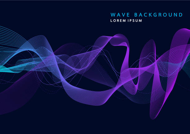 abstract background with dynamic particle sound waves. wave of musical soundtrack for record. vector illustration - sound wave stock illustrations, clip art, cartoons, & icons