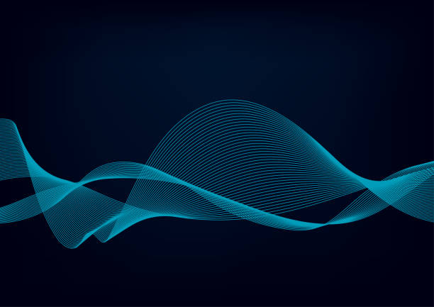 abstract background with dynamic particle sound waves. wave of musical soundtrack for record. vector illustration - sound wave stock illustrations