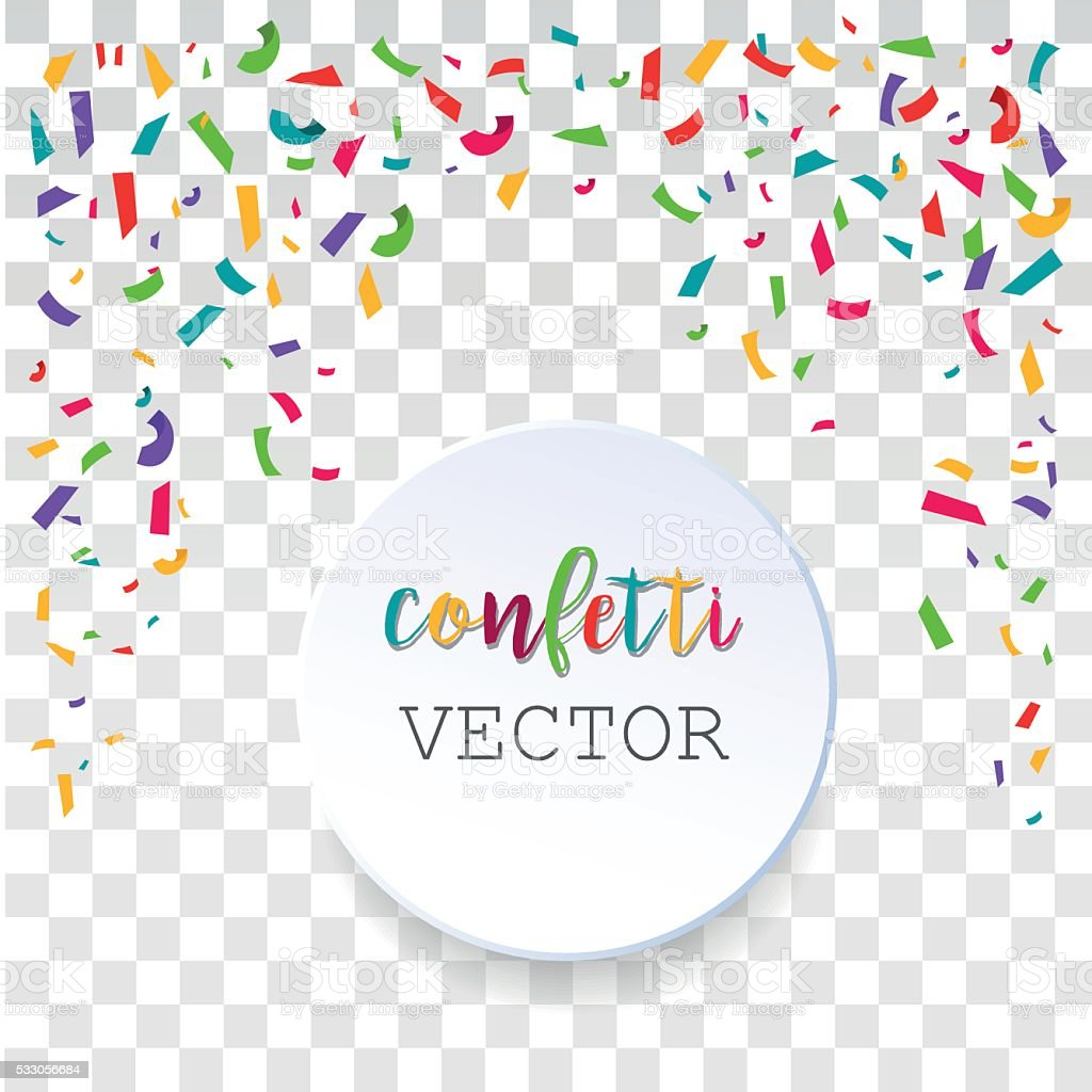 Abstract background with falling confetti pieces. vector art illustration