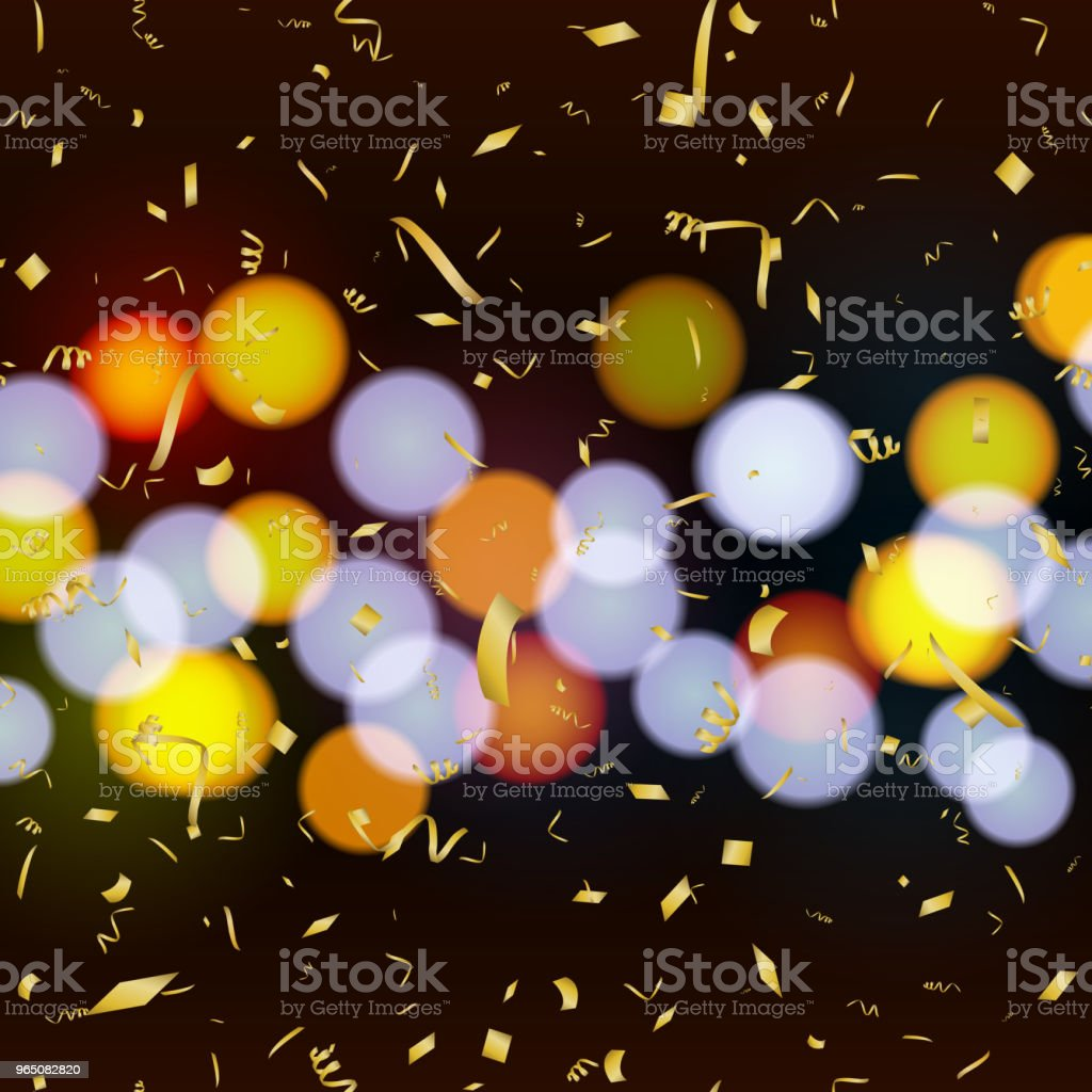 Abstract background with falling gold confetti and defocused lights. Vector. royalty-free abstract background with falling gold confetti and defocused lights vector stock vector art & more images of abstract