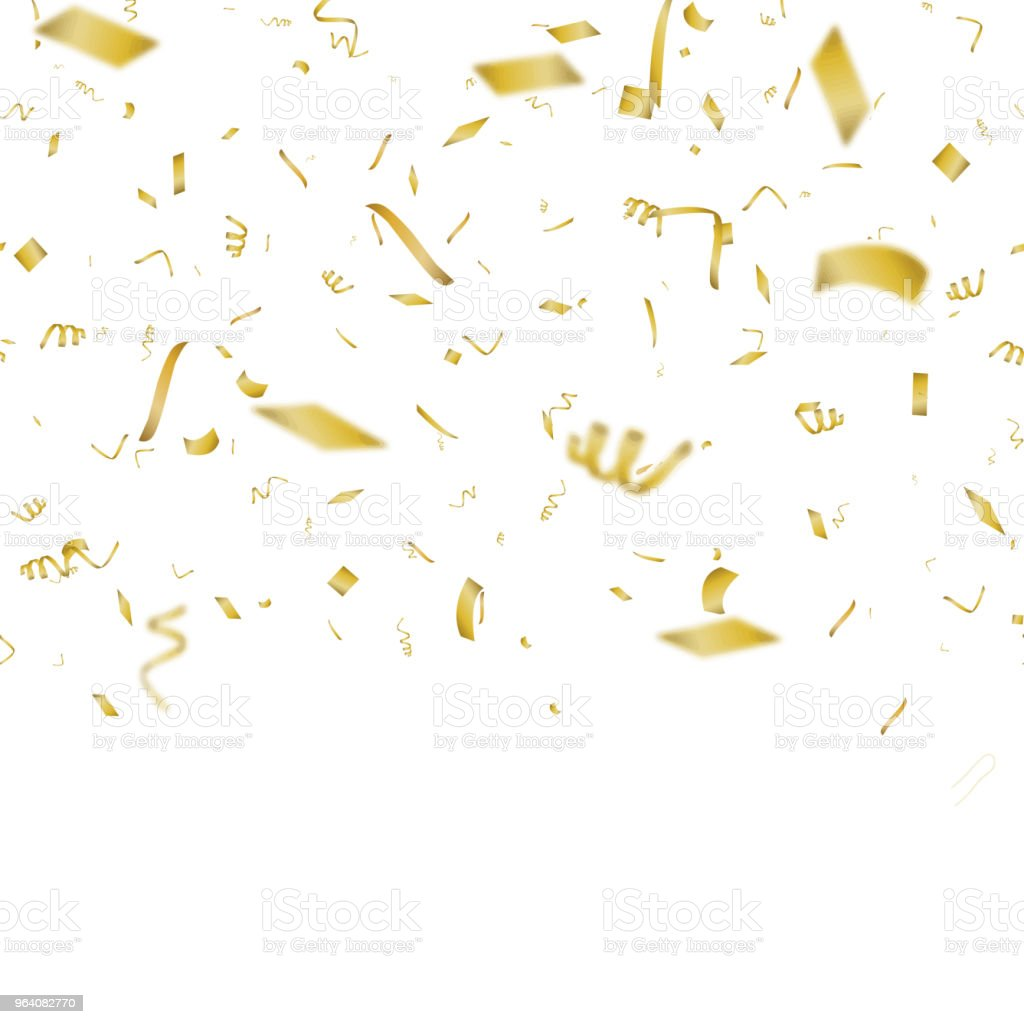 Abstract background with falling gold confetti. Vector. - Royalty-free Abstract stock vector