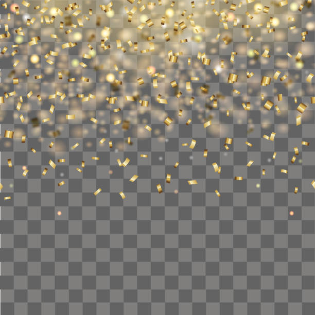 abstract background with falling gold confetti. vector. - anniversary clipart stock illustrations