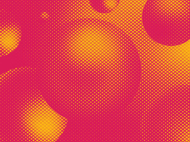Abstract background with floating spheres and half tone pattern Abstract background with floating spheres and half tone pattern saturated color stock illustrations