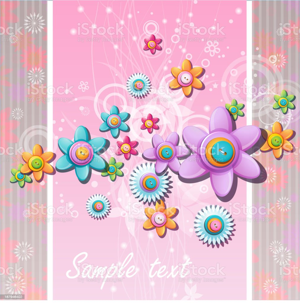 Abstract background with flowers and buttons-EPS10 royalty-free stock vector art