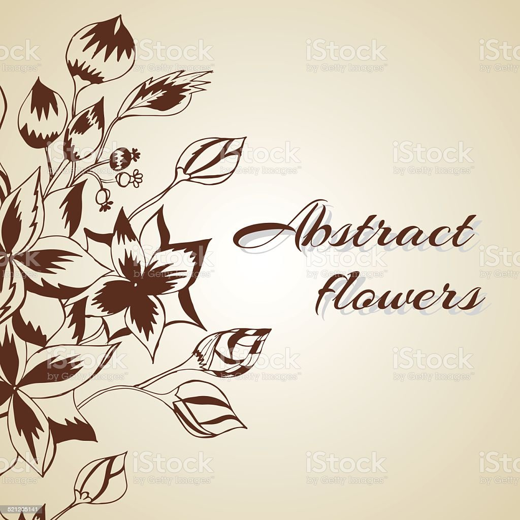 Abstract background with flowers in vintage style vector art illustration