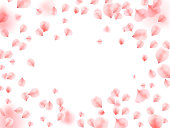 Abstract background with flying pink rose petals. Vector illustration