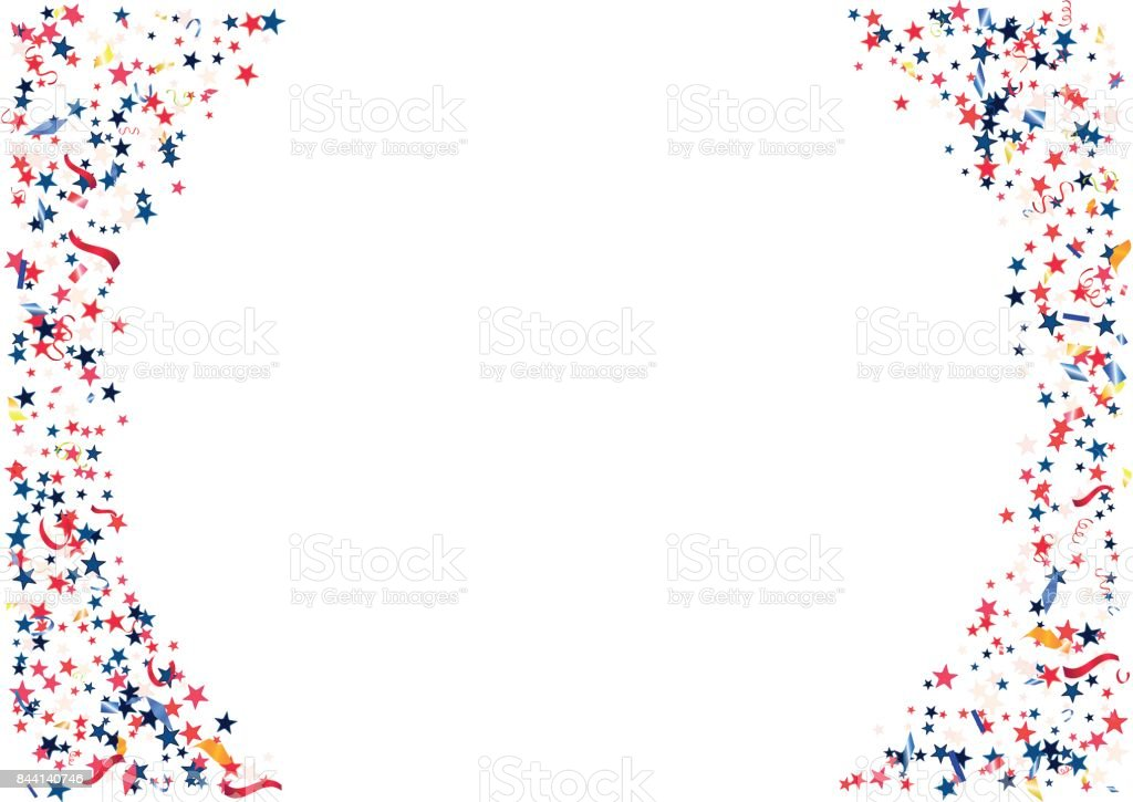 abstract background with flying red blue silver stars