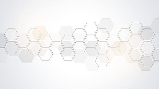 Abstract background with geometric shapes and hexagon pattern. Vector illustration for medicine, technology or science design.