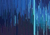 Abstract background with glitched vertical stripes, stream line binary code background with two binary digits 0 and 1. Concepts of aesthetics of signal error, computer coding, hacker, encryption.
