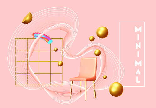 Abstract background with golden geometric elements. 3d shape vector minimal poster.