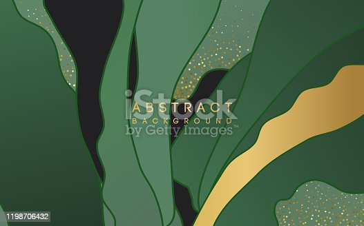 istock abstract background with green shape and gold glitter 1198706432