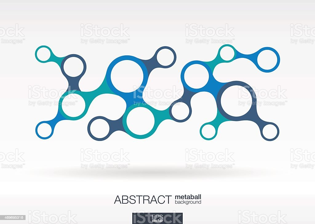 Abstract background with integrated metaball circles. Vector technology illustration vector art illustration