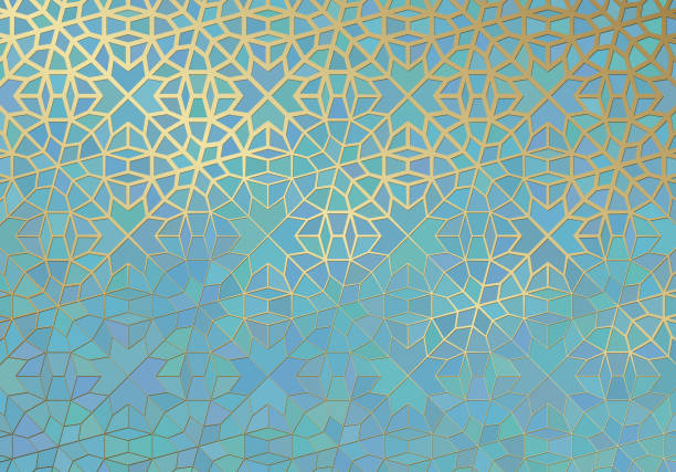 Abstract background with islamic ornament, arabic geometric texture. Golden lined tiled motif. Abstract background with islamic ornament, arabic geometric texture. Golden lined tiled motif over colored background with stained glass style. morocco stock illustrations