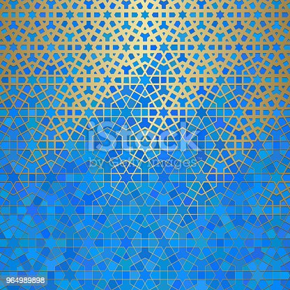istock Abstract background with islamic ornament, arabic geometric texture. Golden lined tiled motif 964989898