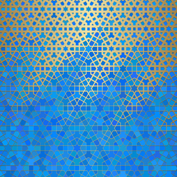 illustrazioni stock, clip art, cartoni animati e icone di tendenza di abstract background with islamic ornament, arabic geometric texture. golden lined tiled motif - arabia