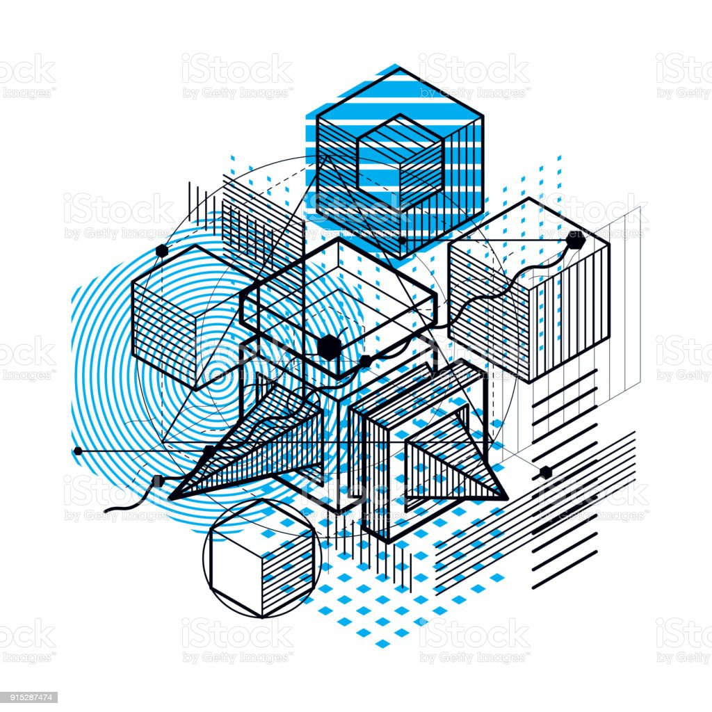Resumen de fondo con elementos isométricos, vector arte lineal con líneas y formas. Cubos, hexágonos, cuadrados, rectángulos y diferentes elementos abstractos. - ilustración de arte vectorial