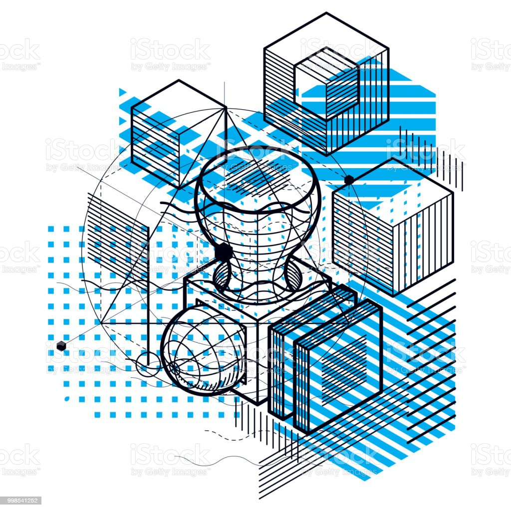 Abstract background with isometric elements, vector linear art with...