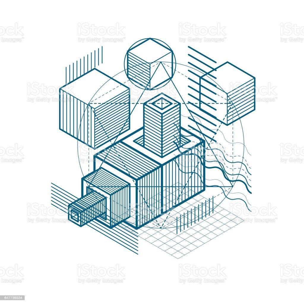 Hintergrund Mit Isometrische Linien Zu Abstrahieren ...
