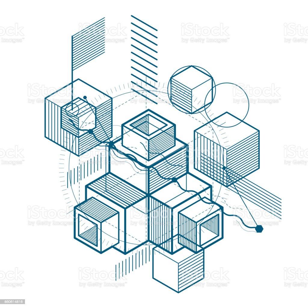 Resumen de fondo con líneas isométricas, Ilustración del vector. Plantilla hecha con cubos, hexágonos, cuadrados, rectángulos y diferentes elementos abstractos. - ilustración de arte vectorial