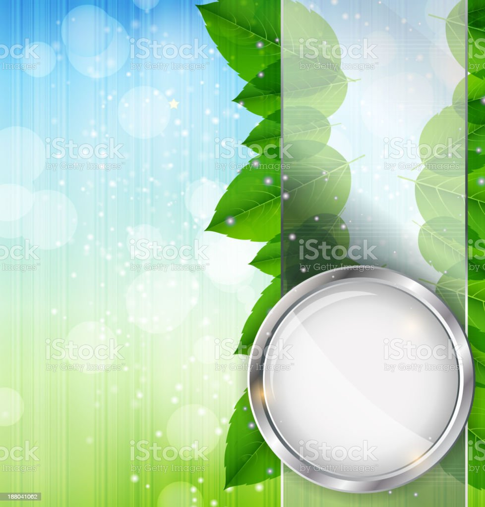 Abstract background with leaves and glass frame. Vector illustration royalty-free stock vector art