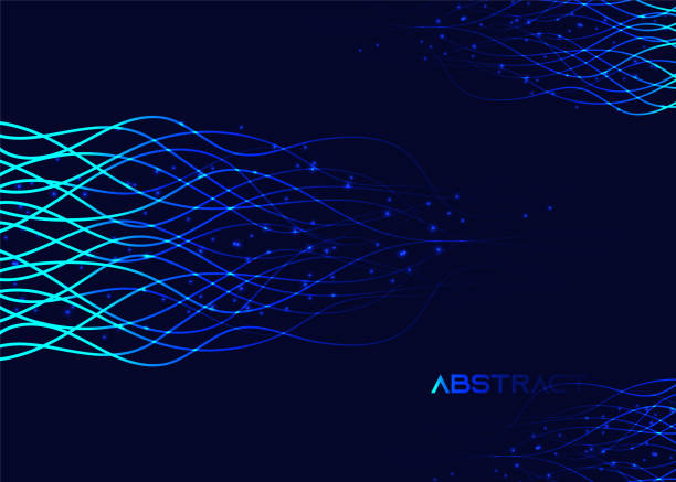 Abstract background with lighting waves, 3d geometric background with lights, rippled effect, party background vector art illustration