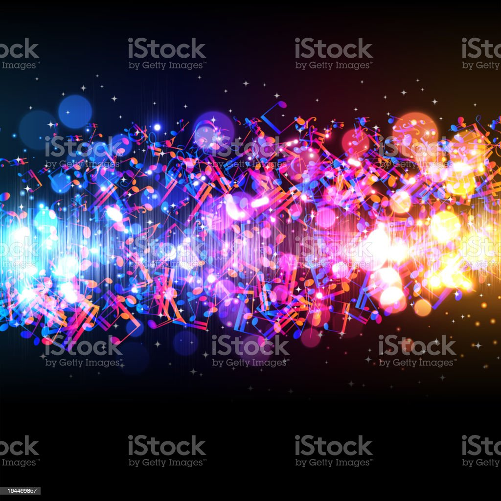 Abstract background with lights and colorful music notes vector art illustration