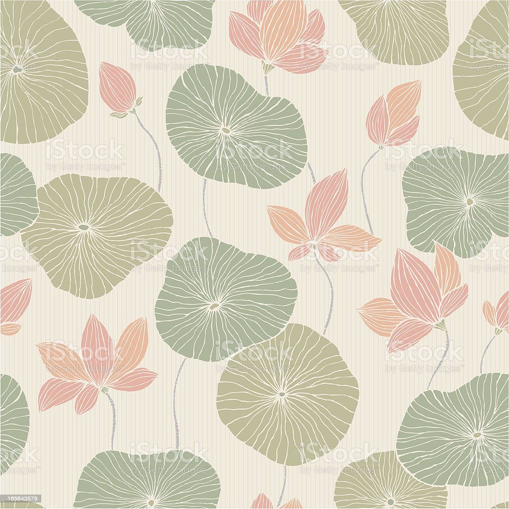 Abstract background with lilies and flowers vector art illustration