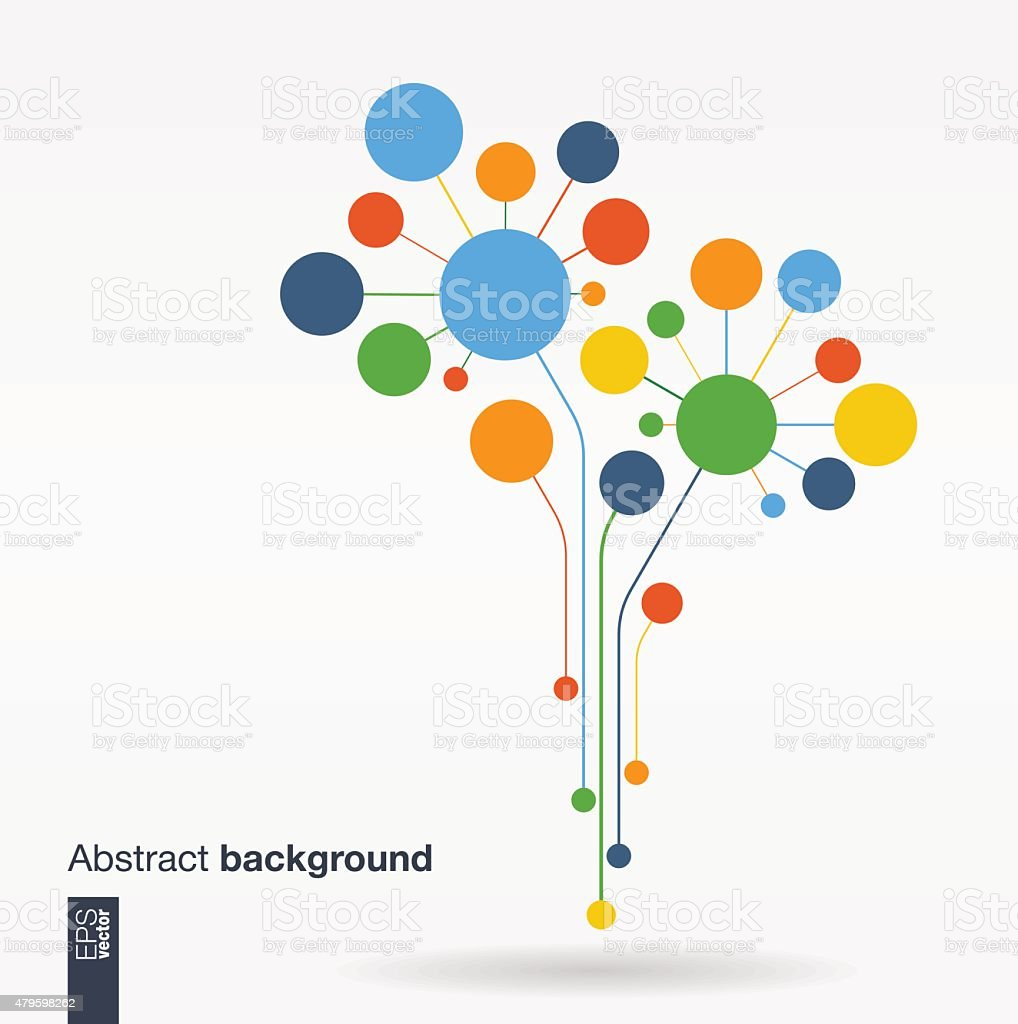 Abstract background with lines and color circles.