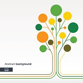Abstract background with lines, color circles. Growth flower (tree) concept
