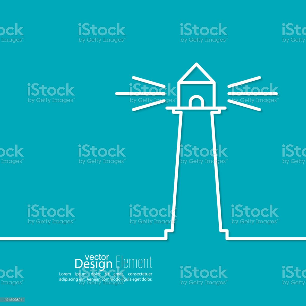 Abstract background with  luminous lighthouse vector art illustration