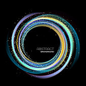 Abstract background with colorful luminous swirling backdrop. Glowing spiral. Vector