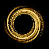 Abstract background with gold luminous swirling backdrop. Glowing spiral. Vector whirlpool