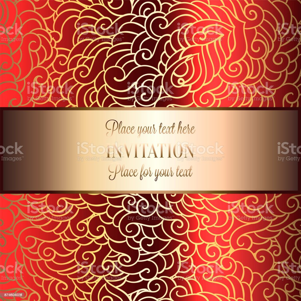 Abstract Background With Luxury Metal Gold Place For Text Vintage Tracery Made Of Feathers Damask