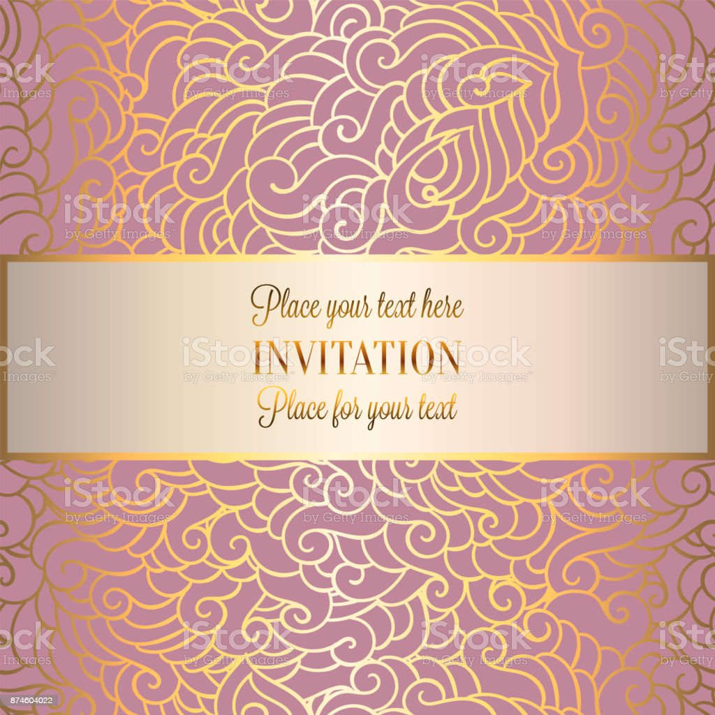 Abstract Background With Luxury Pink Place For Text Gold Vintage