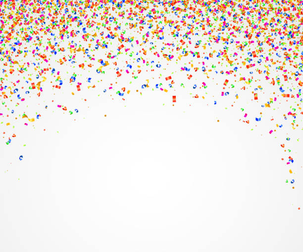 abstract background with many falling colorful tiny confetti pieces. - anniversary silhouettes stock illustrations