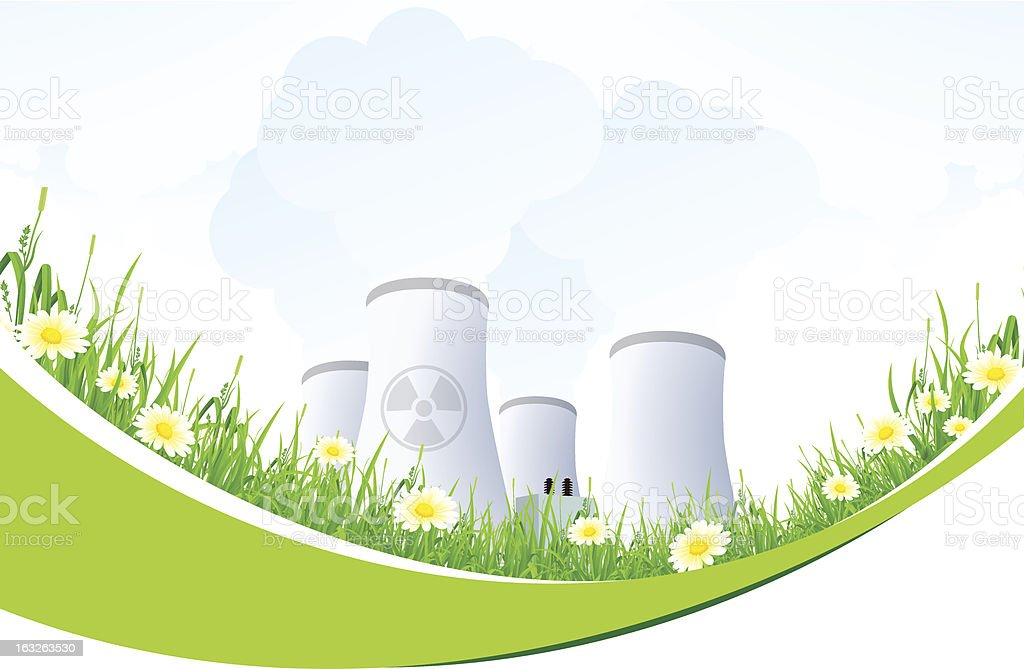 Abstract Background with Nuclear Power Plant and Grass royalty-free abstract background with nuclear power plant and grass stock vector art & more images of backgrounds