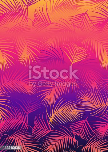 Abstract background with palm leaves in retro futuristic 80s style. Vector template for cards, posters, covers, etc. Synthwave, vaporwave, cyberpunk aesthetics.
