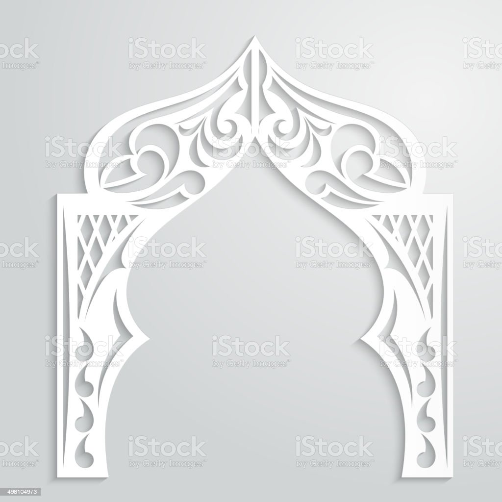 Abstract background with paper arch in the Asian style vector art illustration