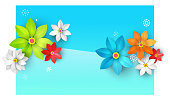 abstract background with paper flowers for design of banner, flyer, cover, poster, postcard, web