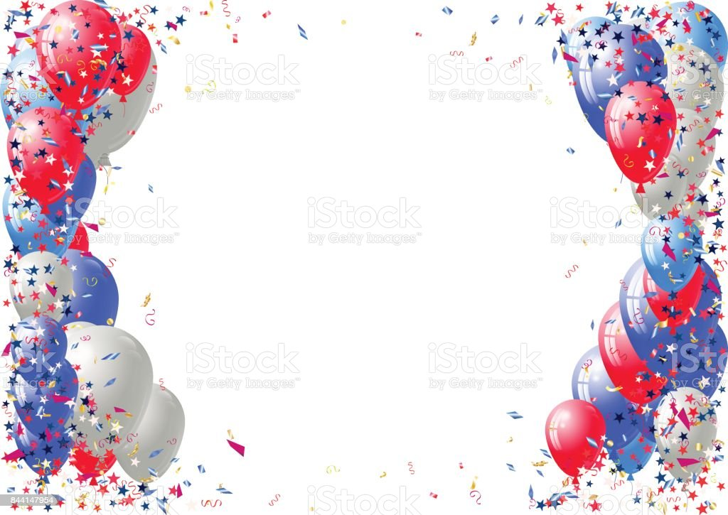 Abstract background with scattered confetti and balloons. Blank festive holiday card template vector art illustration