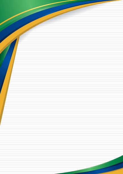 abstract background with shapes with the colors of the flag of brazil, to use as diploma or certificate. format a4 - alejomiranda stock illustrations