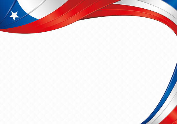 Abstract background with shapes with the colors of the flag of Chile to use as Diploma or Certificate Abstract background with wave shapes with the blue, red, white colors of the flag of Chile to use as Diploma or Certificate alejomiranda stock illustrations