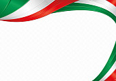 Abstract background with wave shapes with the green, white, red colors of the flag of Mexico or Italy to use as Diploma or Certificate
