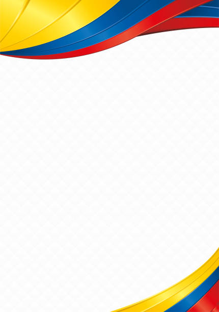 Abstract background with shapes with the colors of the flag of Ecuador, Colombia or Venezuela to use as Diploma or Certificate Abstract background with wave shapes with the yellow, blue, red colors of the flag of Ecuador, Colombia or Venezuela to use as Diploma or Certificate alejomiranda stock illustrations
